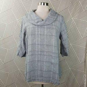 Chalet size Medium Top 100% Linen Shirt Cowl Neck